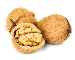walnuts isolated on the white background