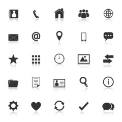 Contact icons with reflect on white background