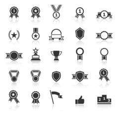 Award icons with reflect on white background