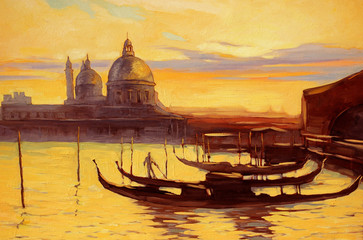 decline to venice, painting,  illustration