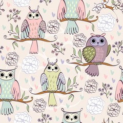 illustration with owl sitting on the branches