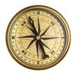 Leinwandbild Motiv simple old brass nautical compass isolated on white