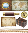 nautical objects set isolated: map, compass, rope, etc. - 62803781