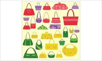Women Bags Vector Digital Clipart