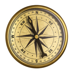 simple old brass nautical compass isolated on white
