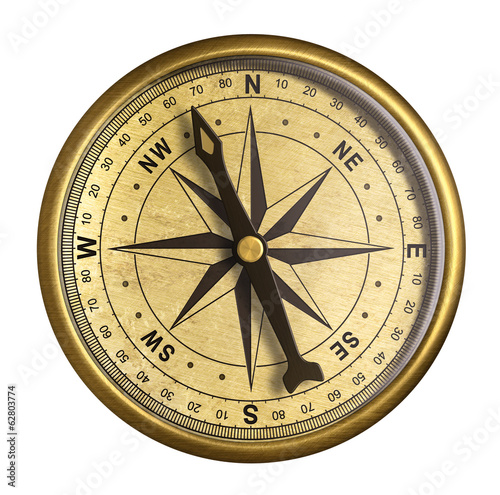 Leinwanddruck Bild simple old brass nautical compass isolated on white