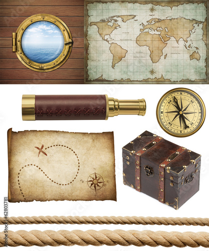 nautical objects set isolated: map, compass, rope, etc.