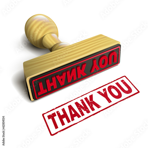 stamp thank you with red text on white