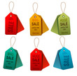 Set of colorrful sale tags. Concept of discount shopping. Vector