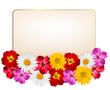 Holiday background with a paper greeting card and flowers. Vecto