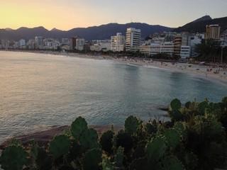 Ipanema beach in sunset from Arpoador, Rio de Janeiro