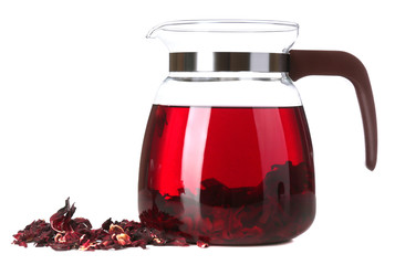 Jar of herbal tea, isolated on white