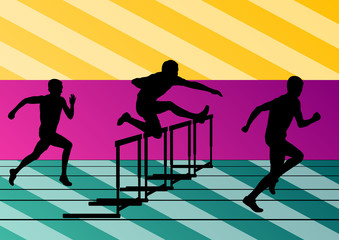 Active men sport athletics hurdles barrier running silhouettes i