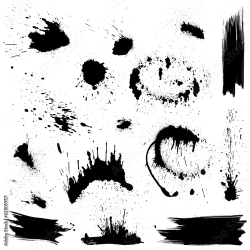 Set of black blots and ink splashes. Abstract elements for desig