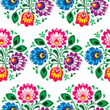 Seamless traditional floral pattern from Poland on white - 62806959