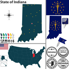Map of state Indiana, USA