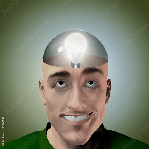 Man with transparent skull has idea