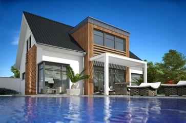 Villa Satteldach mit Pool