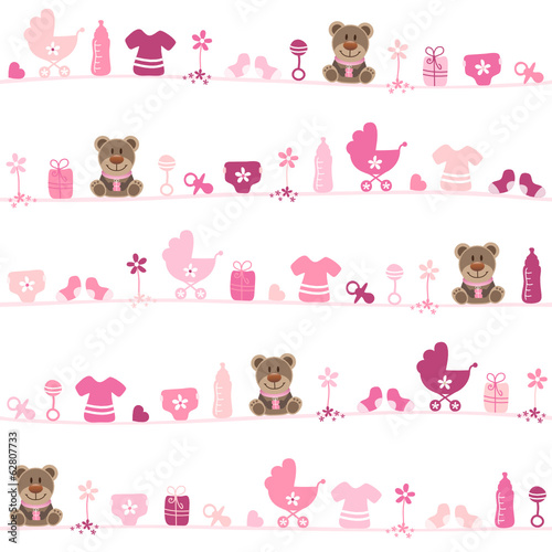 Seamless Pattern Teddy Baby Girl Pink