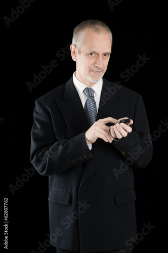 Businessman Writing Sms on Phone