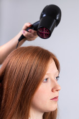 Hair styling in beauty salon