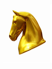 Horse head in gold side view