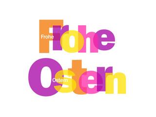 """FROHE OSTERN"" Karte (Nachicht Kalender April Eier Schokolade)"