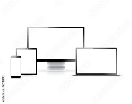 Realistic vector set of laptop, tablet, smartphone and computer