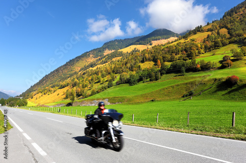 Among the hills motorcyclist rides
