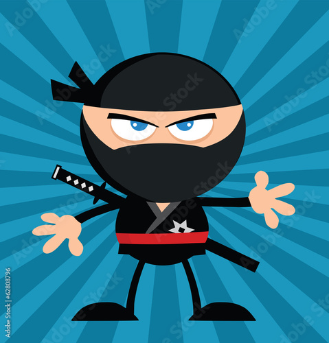Angry Ninja Warrior Character.Flat Design Over Blue Background