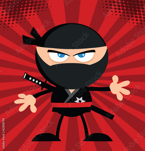 Angry Ninja Warrior Character.Flat Design Over Red Background