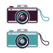 Retro camera set, various colors