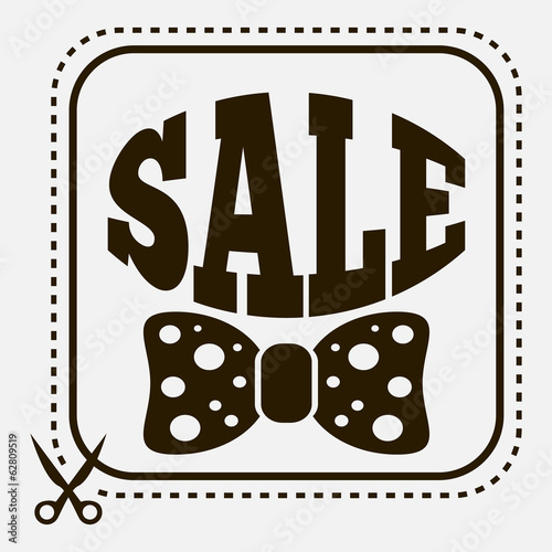 Vintage sale label with stylish bow-tie