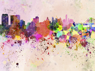 Philadelphia skyline in watercolor background