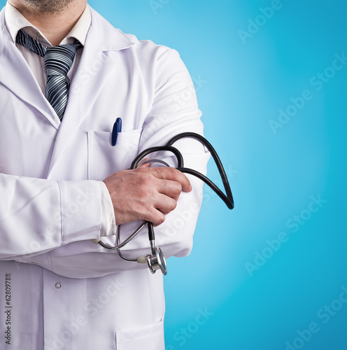 Portrait of male doctor physiotherapist with stethoscope