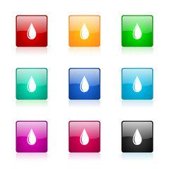 water drop vector icons colorful set