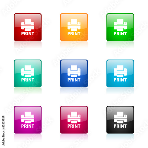 printer vector icons colorful set