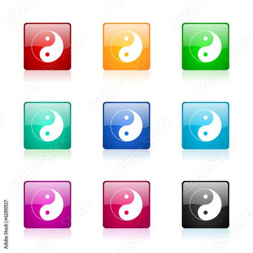 ying yang vector icons colorful set