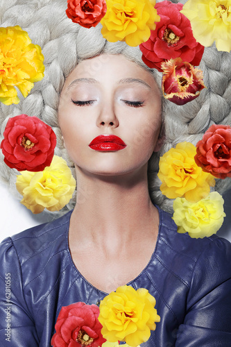 Fantasy. Sleeping Woman with Closed Eyes and Colorful Flowers