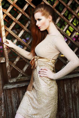 Luxurious Woman in Fashion Dress Posing Outside