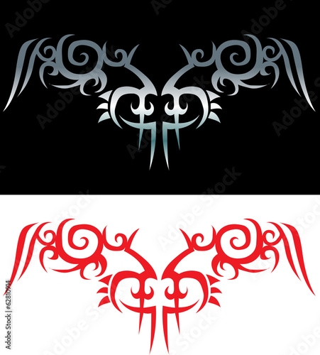 Vector - Tribal tattoo isolated on black and white background
