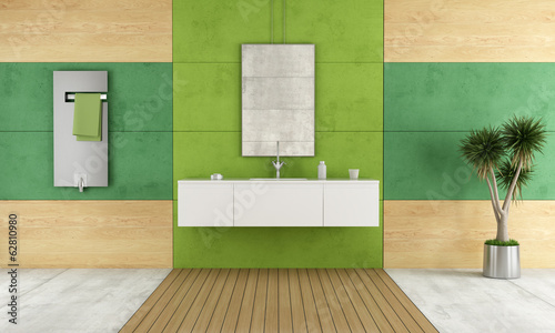Green contemporary bathroom