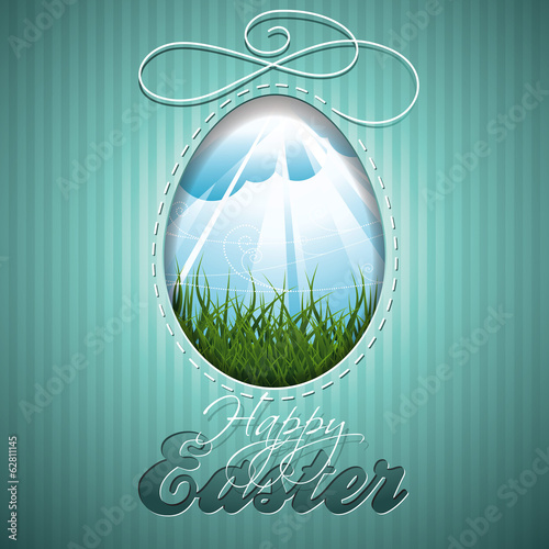Easter illustration with abstract egg on vintage background.