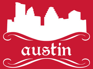 Austin - name and city silhouette