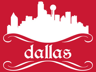 Dallas - name and city silhouette