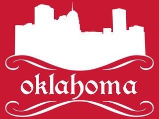 Oklahoma - name and city silhouette