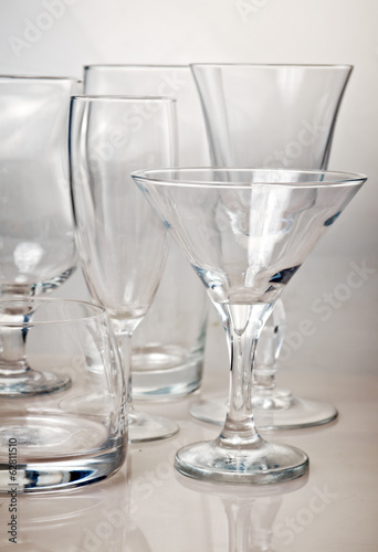 Clean empty glassware collection