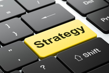Business concept: Strategy on computer keyboard background