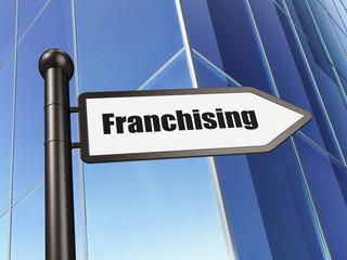Finance concept: sign Franchising on Building background