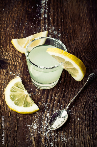 fresh lemonade on a wooden background